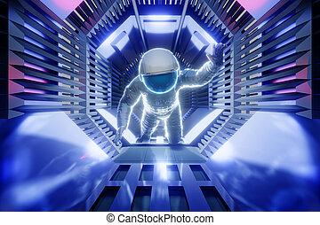tunnel, astronaut, zukunftsidee