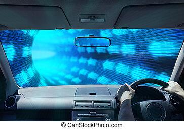 tunnel, fahren, digital