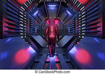 tunnel, zukunftsidee, astronaut