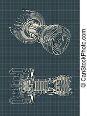 turbofan, blaupause, motor, düse