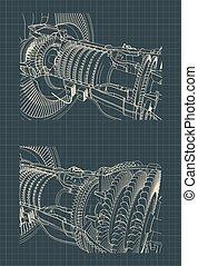 turbofan-motor, düse