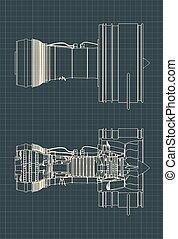 turbofan-motor, zeichnungen, düse
