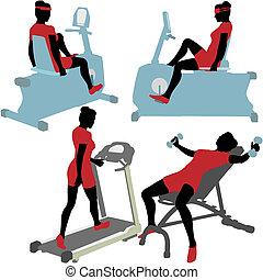turnhalle, frauen, maschinen, übung, fitness