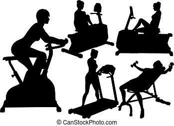 turnhalle, frauen, workouts, übung, fitness