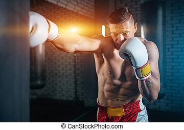 turnhalle, muskulös, training, schließen, mann, tasche, auf, boxer, lochung