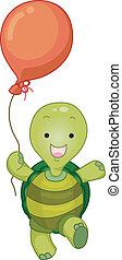 Turtle Maskottchen mit Ballon