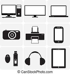 Tv, Computer, Kamera, Laptop, Notizbuch und andere elektronische Geräte. Diese grafischen Illustrationen sind einfache Ikonen (symbol) digitaler Geräte in Schwarz-Weiß