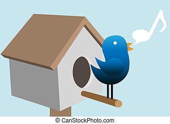 Tweety Vogel-Twitter über Vogelhaus