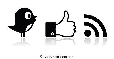 Twitter, Facebook, RSS-schwarzes Glueck