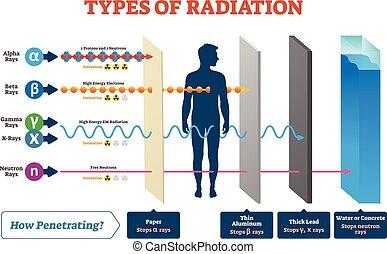 Type der Strahlenvektorgrafik und beschriftetes Beispielschema.
