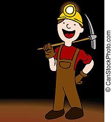 u-bahn, bergbauarbeiter, zeichen, karikatur