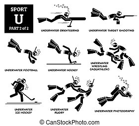 u, sport, spiele, alphabet, heiligenbilder, pictogram., vektor