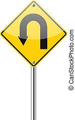 u-turn, warnung, gelbe straße, zeichen