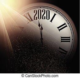 uhr, gold, illustration., black., neu , glänzend, jahr, hintergrund, sand, runder , 2020, weihnachten