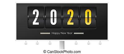 uhr, mechanisch, timer., oder, countdown, vektor, card., schnellen, neu , hintergrund., werbewand, 3d, jahr, illustration., schwarz, gruß, weihnachten, grüße, 2020., analog, bankschalter