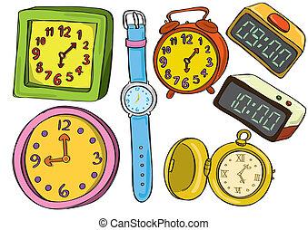 Uhr und Uhren-Doodle.