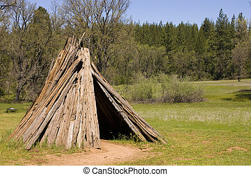 U'macha oder Wohnen des sierra miwok Stammes in Kalifornien