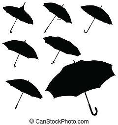 Umbrella, schwarzer Silhouette Vektor