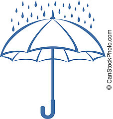 Umbrella und Regen, Piktogramm.
