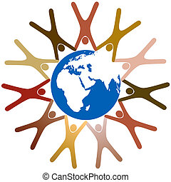 Umgekehrte Symbole halten Hände in Ring um den Planeten Erde