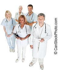 Umgekehrtes medizinisches Team auf Weiß