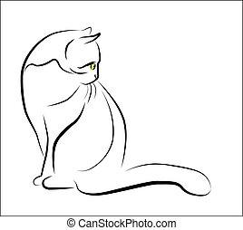 Umriss Illustration von sitzender Katze