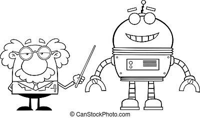 Umrissener Professor mit einem Roboter.