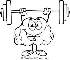 Umrisses Gehirn hebt Gewichte