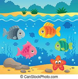 underwater, fauna, 2, thema, wasserlandschaft