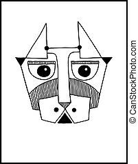 Ungewöhnliche Hand zeichnen Illustration mit einem Kopf des Hundegesichts Portrait.