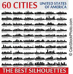 Unglaubliche Skyline-Silhouetten. Vereinigte Staaten von Amerika
