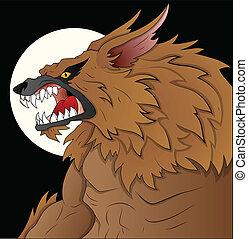unheimlicher , abbildung, werwolf