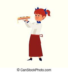 uniform, m�dchen, stück, isolated., küchenchef, pizza, wohnung, vektor, hält, abbildung