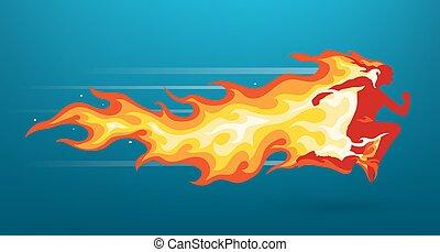 Unisex Charakter Silhouette, die in Flammen läuft
