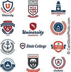 Universität und College Embleme.