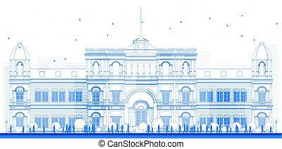 Universitäts- oder Collegegebäude im klassischen Stil.