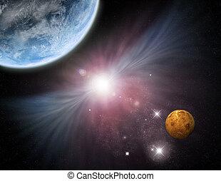Universum - Sternenfeldplaneten und Nebel