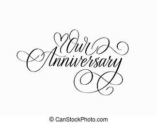 unser, jubiläum, tinte, kalligraphie, design, herz, liebe
