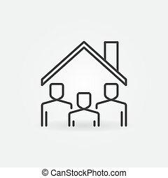 unter, linie, vektor, dach, zeichen, aufenthalt, icon., daheim, leute