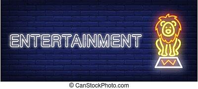 unterhaltung, banner, neon, stil