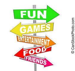 Unterhaltungs-Aktivitätsschilder, die Richtung zeigen.