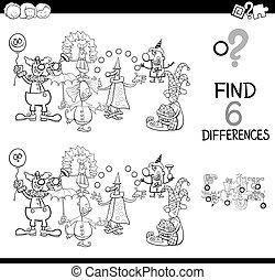 Unterschiede mit Clowns-Farbenbuch.