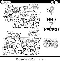 Unterschiede Spiel mit Katzen-Farbbuch.
