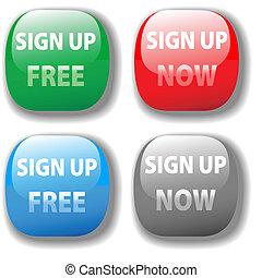 Unterschreiben Sie jetzt kostenloses Web-Icon-Knopf-Set