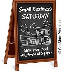 Unterzeichnen Sie Leichtigkeit, kleine Geschäfte am Samstag