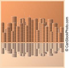 Urban Landschaft Wolkenkratzer mit ref.