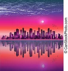 Urban Night City Skyline in Mondschein oder Sonnenuntergang, mit Reflexion.