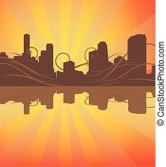 Urban Silhouette Hintergrund. Vector