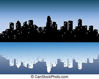 Urban Skylines mit Reflexion