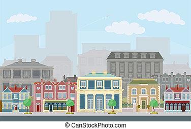 Urban Street-Szene mit cleveren Stadthäusern